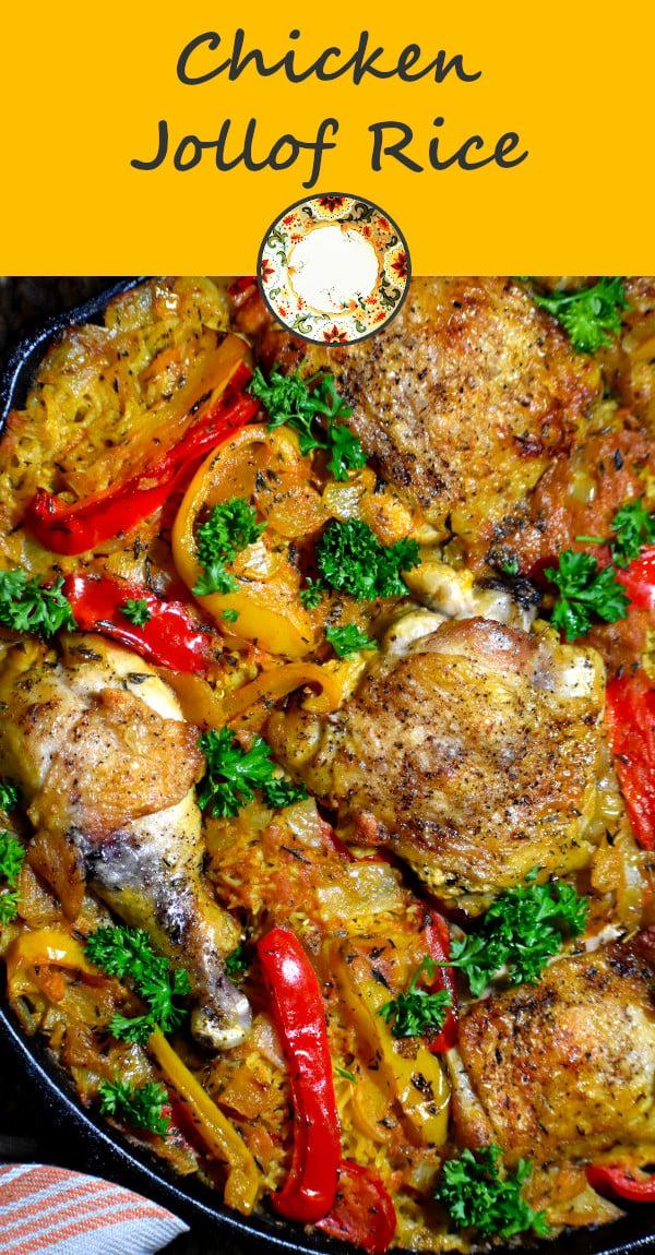 pinterest image of chicken jollof rice