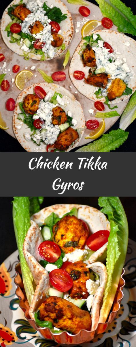 long pin of chicken tikka gyros