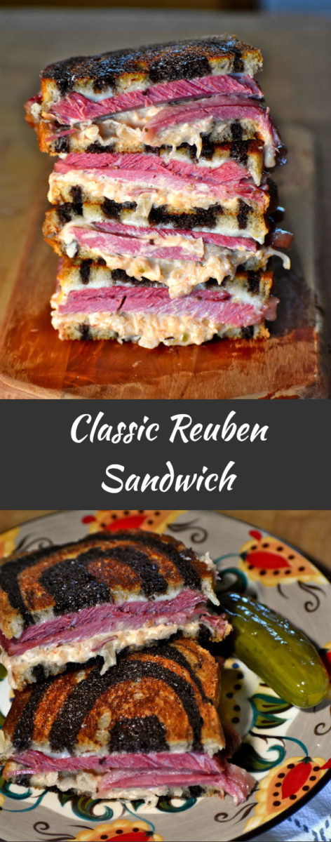 long pin of classic reuben sandwich