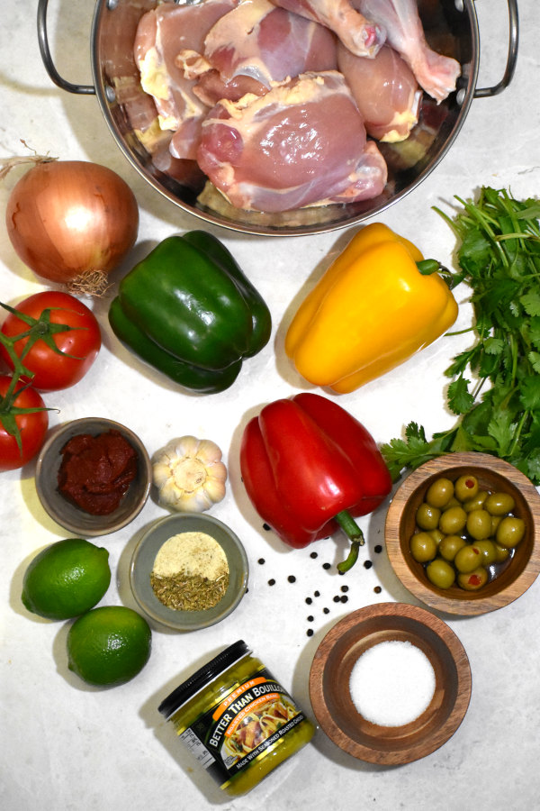 ingredients for pollo guisado arranged on a white background
