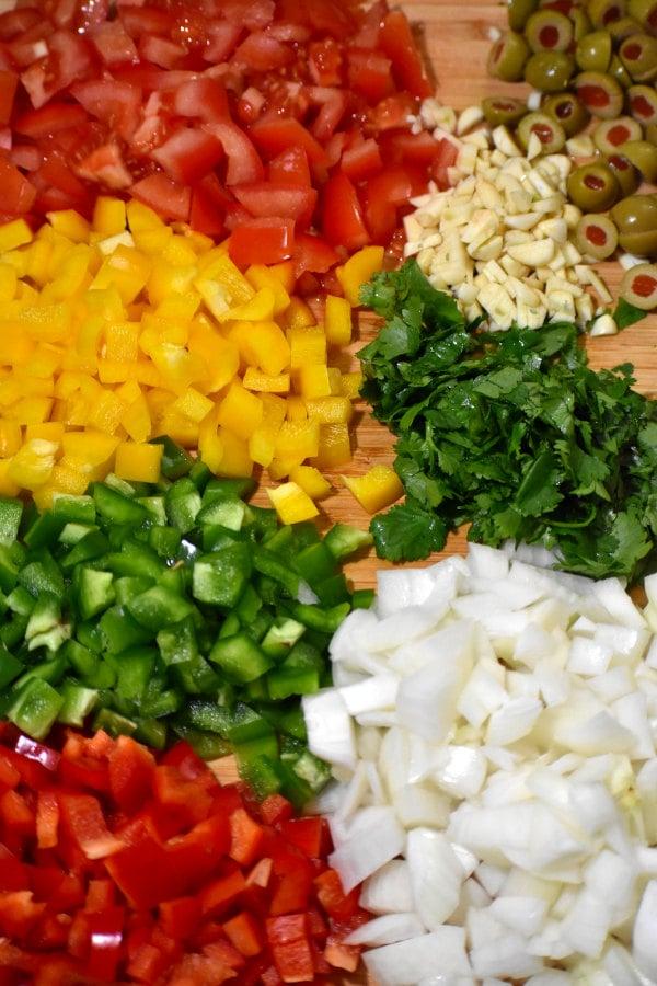 chopped veggies on a cutting board