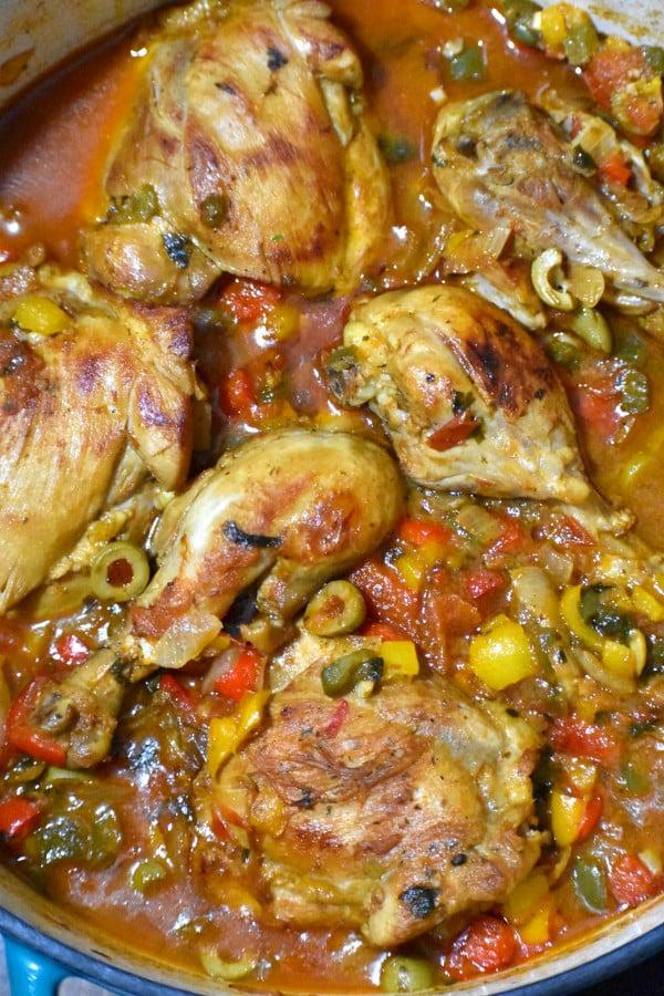 cooked pollo guisado in a pot