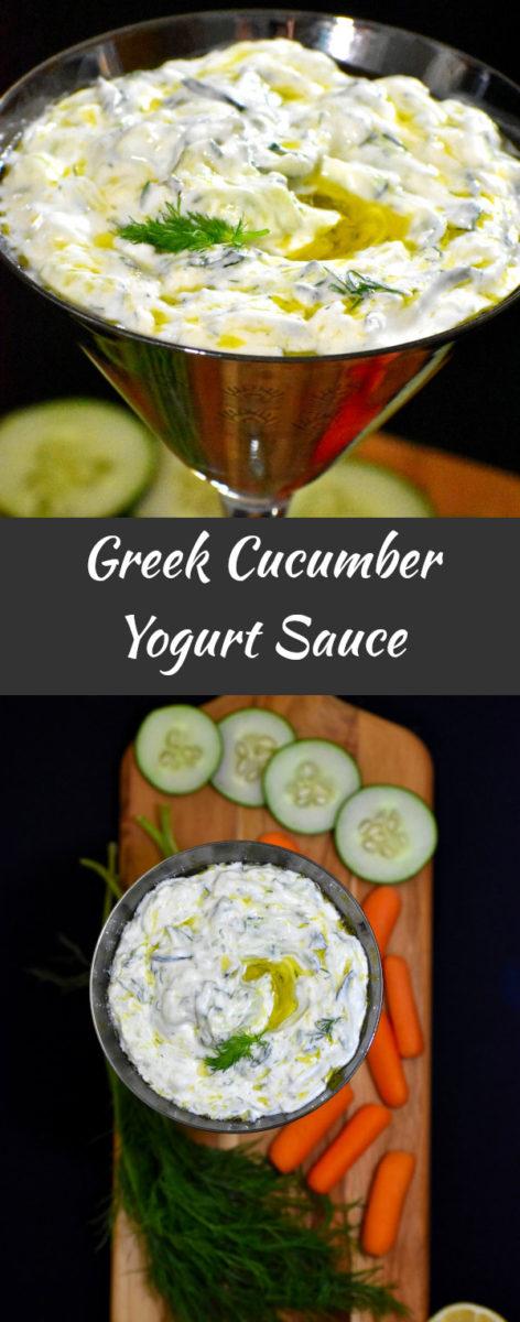 long pin of greek cucumber yogurt sauce