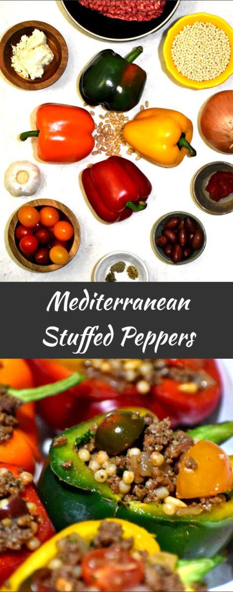 long pin of mediterranean stuffed peppers