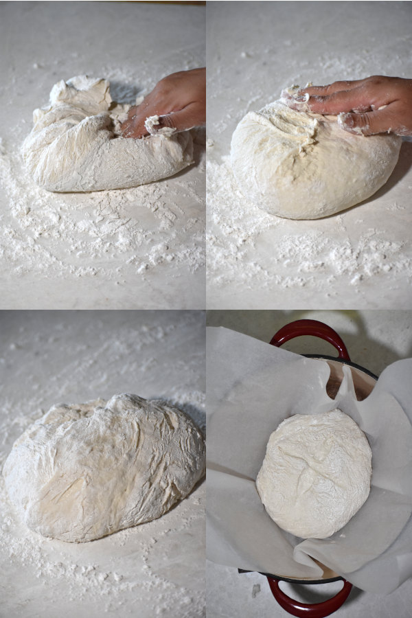 four image collage depicting shaping a dough ball