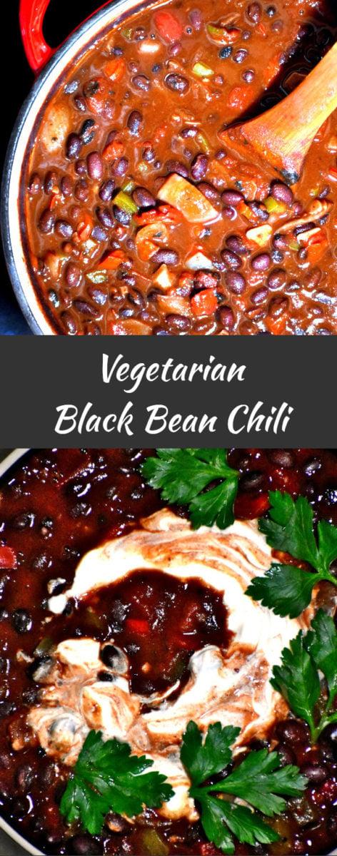 long pin of vegetarian black bean chili