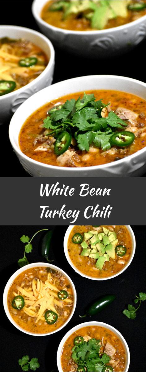 long pin of white bean turkey chili