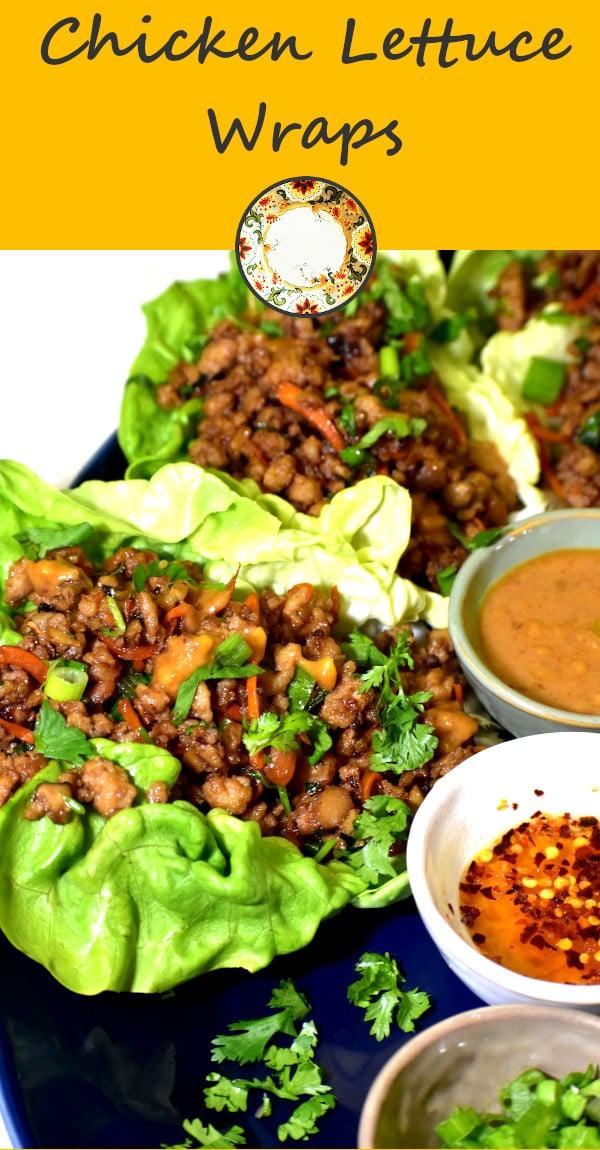 pinterest image of chicken lettuce wraps