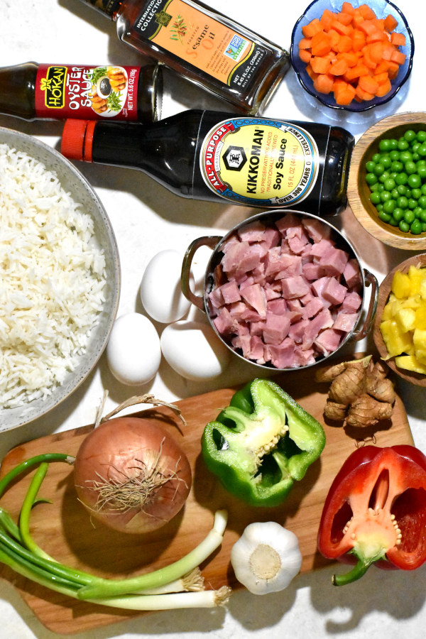 Ingredients for this recipe on a white background.