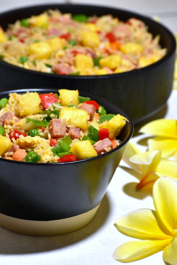 Another picture of the two bowls of Hawaiian fried rice.