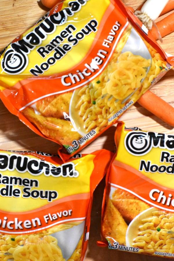 three packets of maruchen brand ramen noodle soup