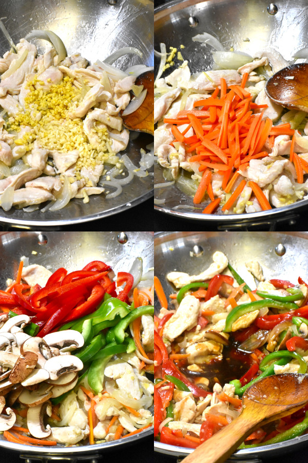 collage showing multiple steps in the stir fry process