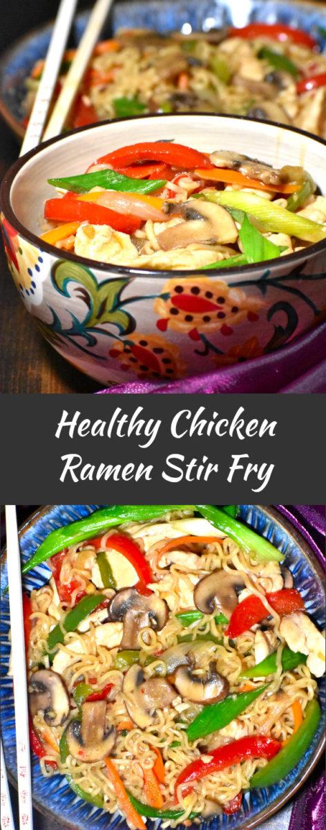 long pin image of healthy chicken ramen stir fry