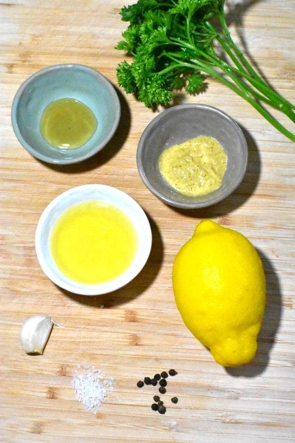 ingredients for lemon dijon vinaigrette dressing
