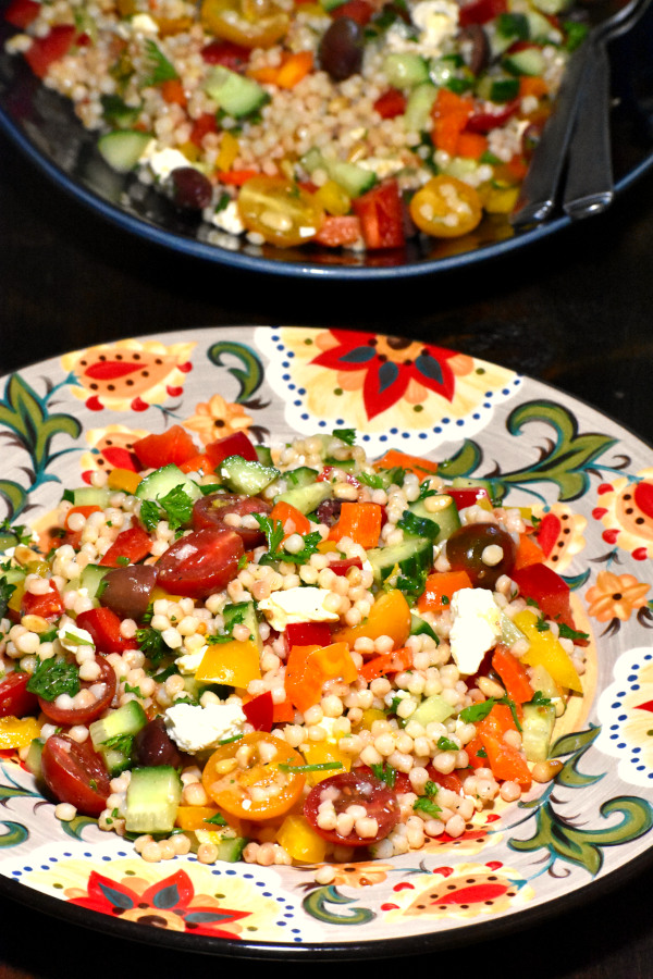israeli couscous salad on the gypsy plate