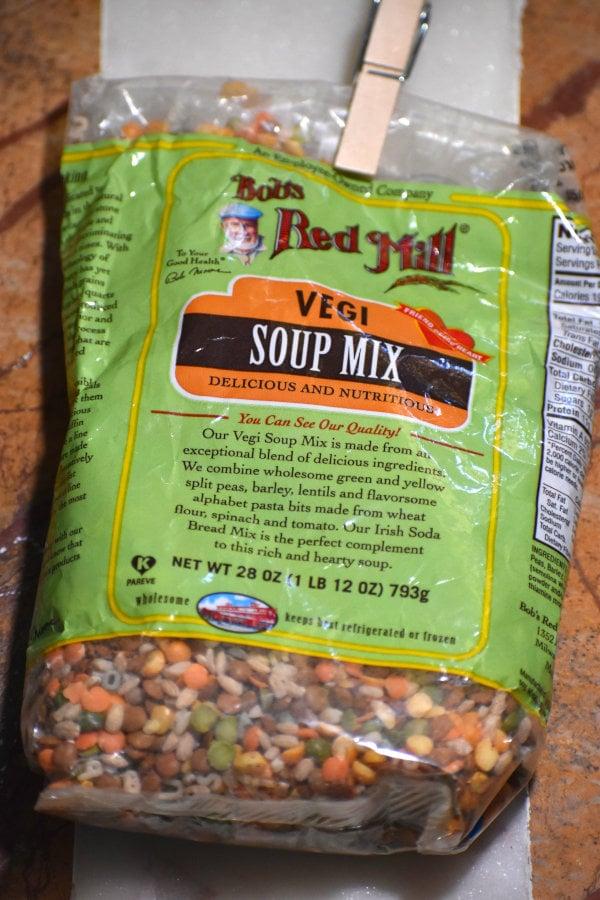 a bag of soup mix