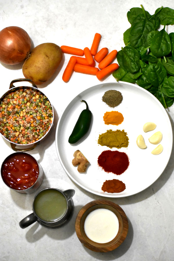 ingredients for this recipe on a white background