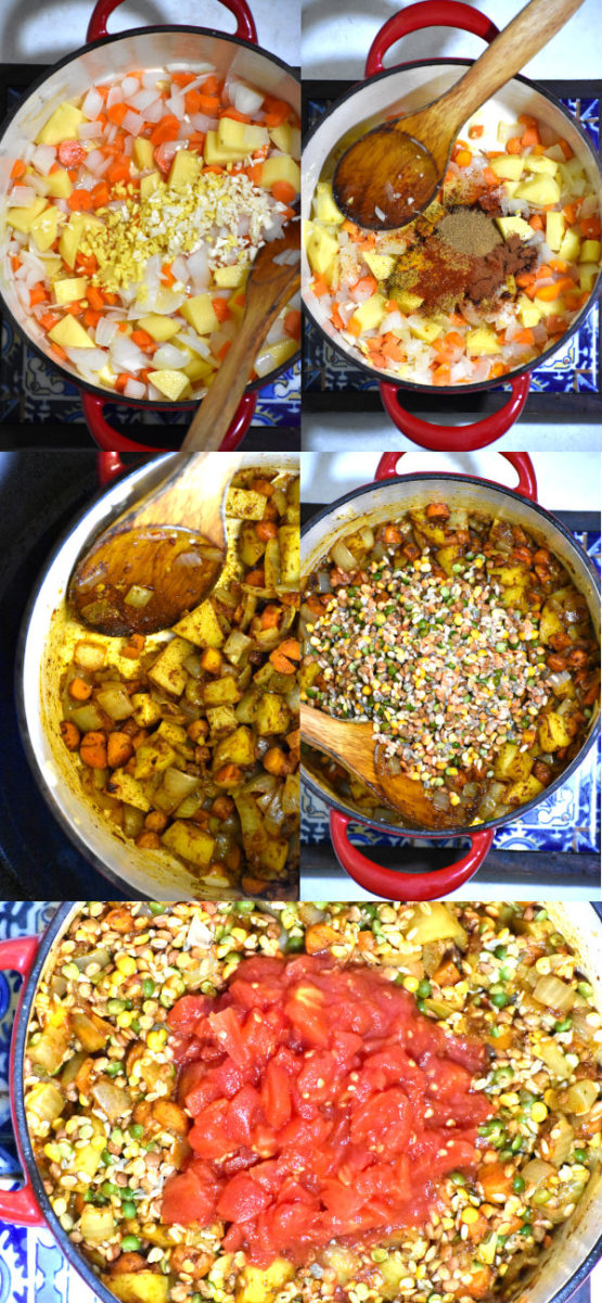 collage showing various steps in making this soup