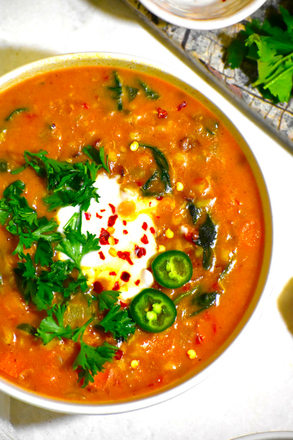close up of a full bowl of our moroccan lentil sou