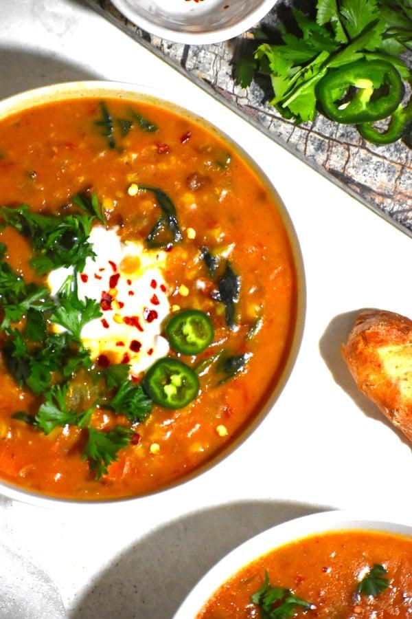 The 40 plus best Mediterranean recipes - Moroccan lentil soup.