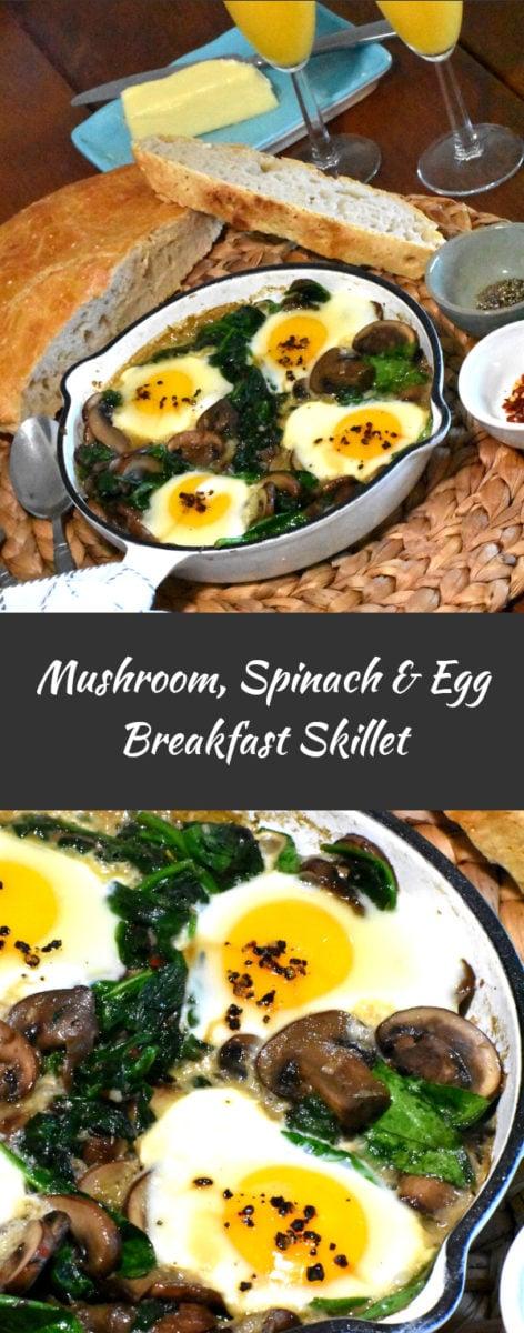 long pin of mushroom, spinach and egg breakfast skillet