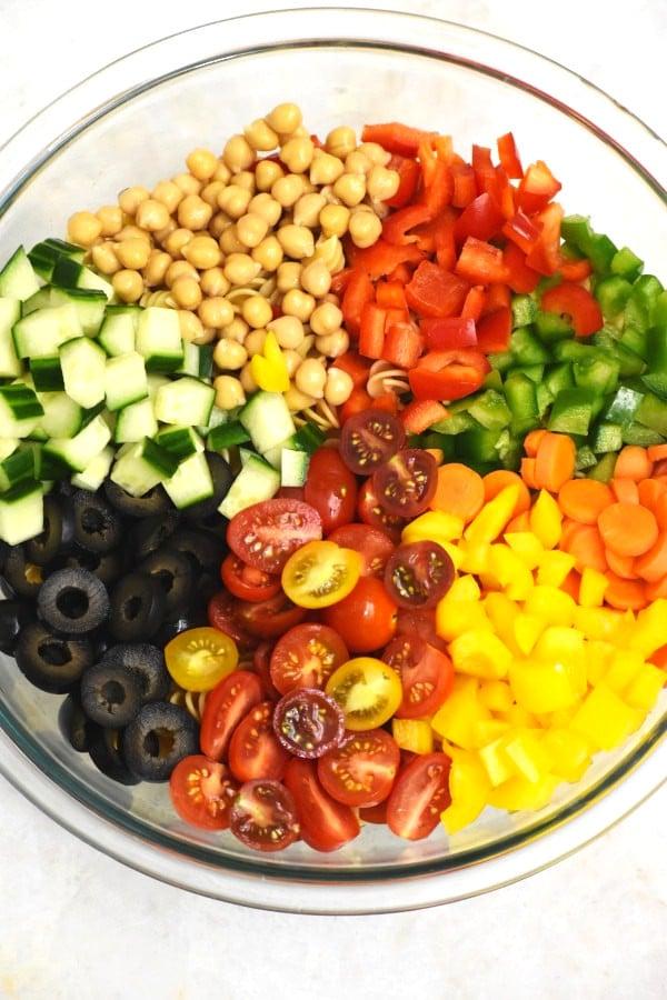diced veggies artfully arranged in a clear bowl