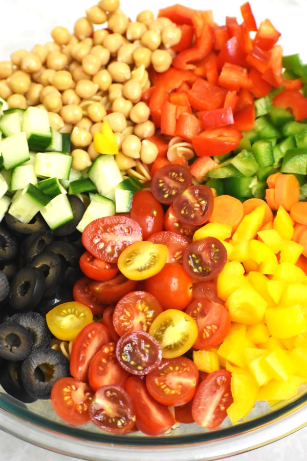 diced veggies nicely arranged in a clear bowl