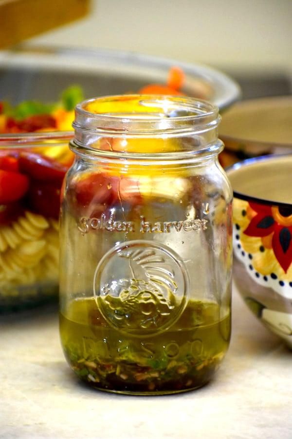 homemade salad dressing in a mason jar
