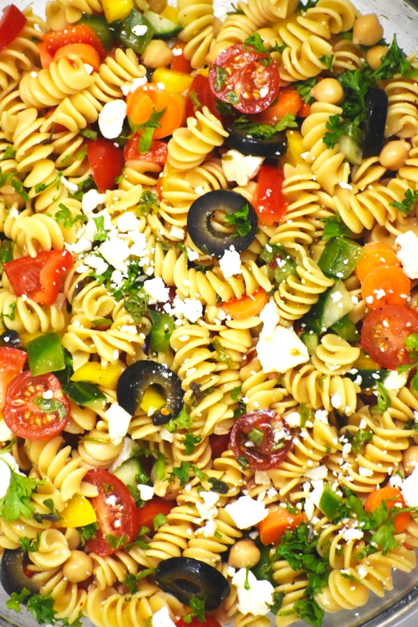 closeup of rainbow pasta salad