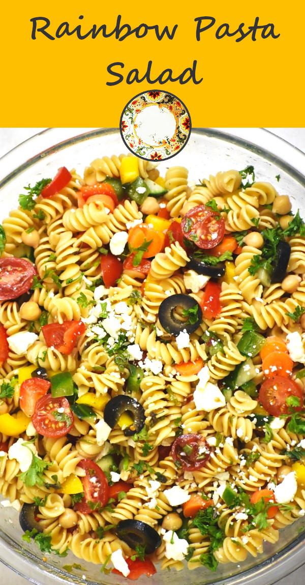 pinterest image of rainbow pasta salad