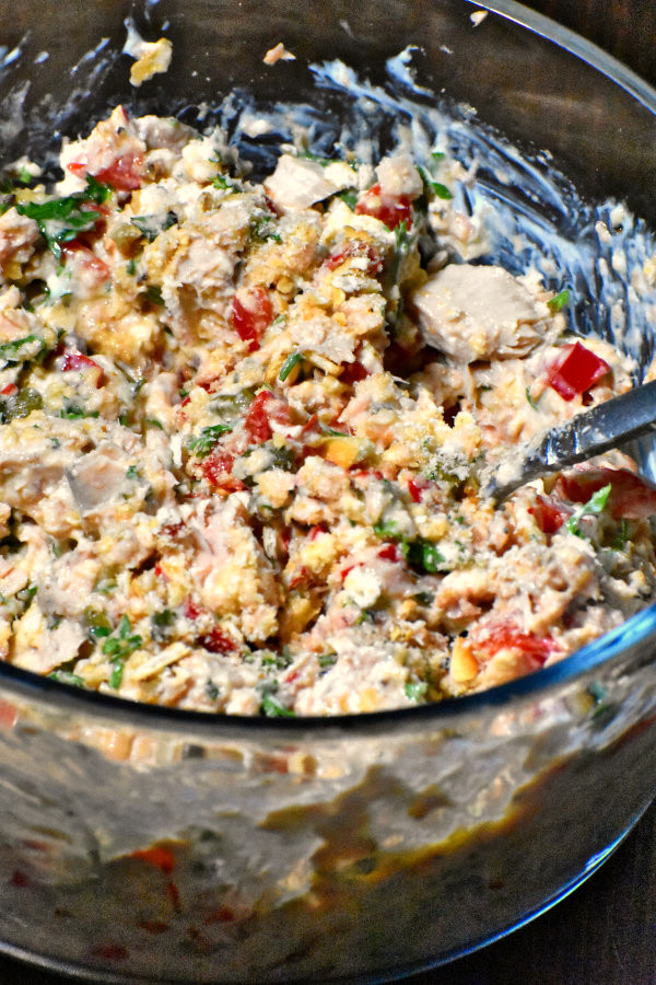 salmon patty mixture in a bowl