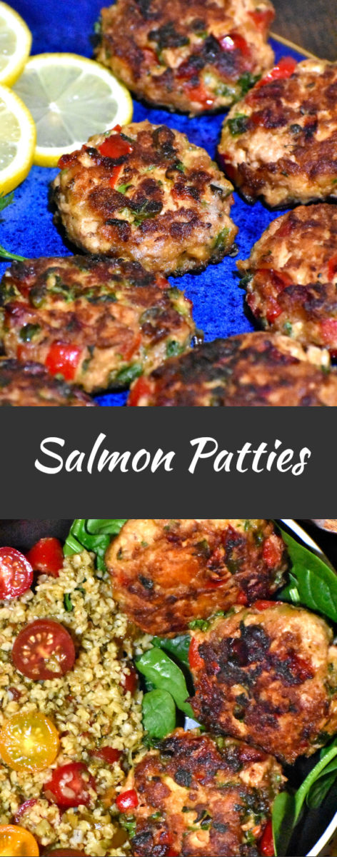 long pin of salmon patties