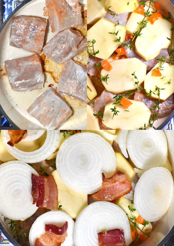 collage of layering this hearty soup
