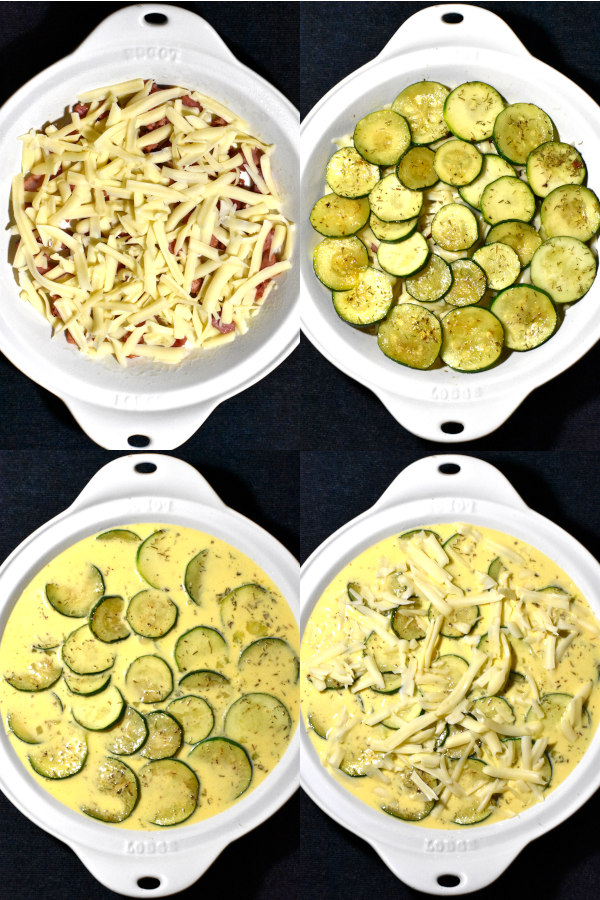 collage of layering quiche