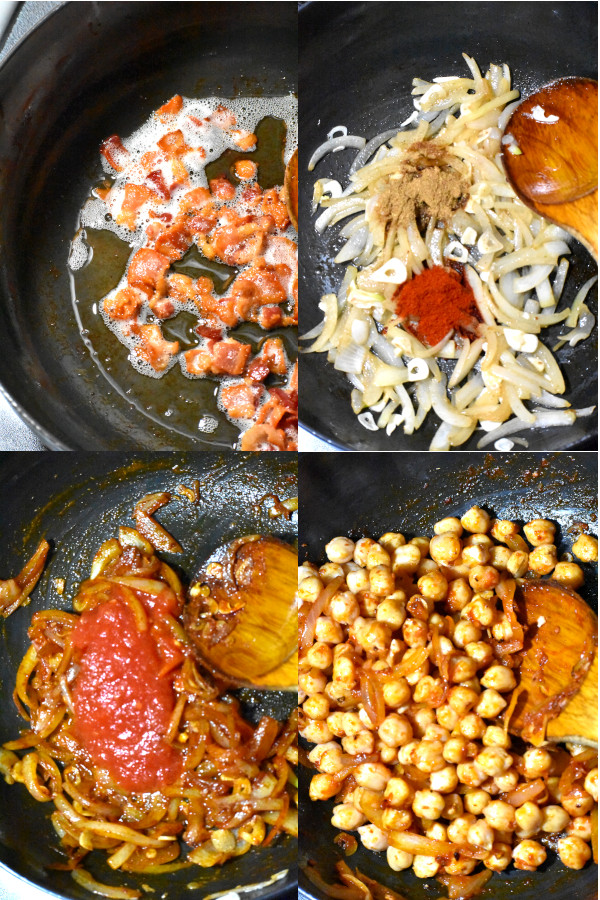 collage of four images showing steps to create this delicious recipe
