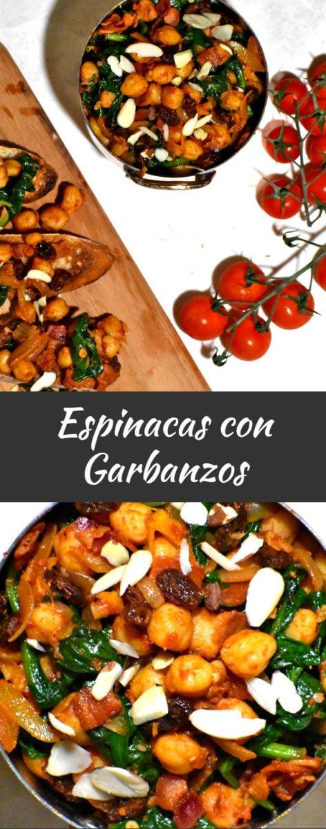 long pinterest image of espinacas con garbanzos