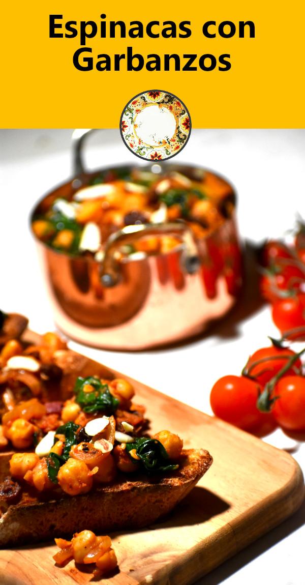 pinterest image for espinacas con garbanzos