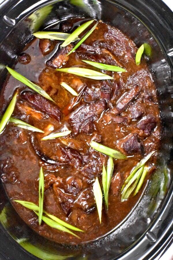 Mongolian beef in a crockpot.