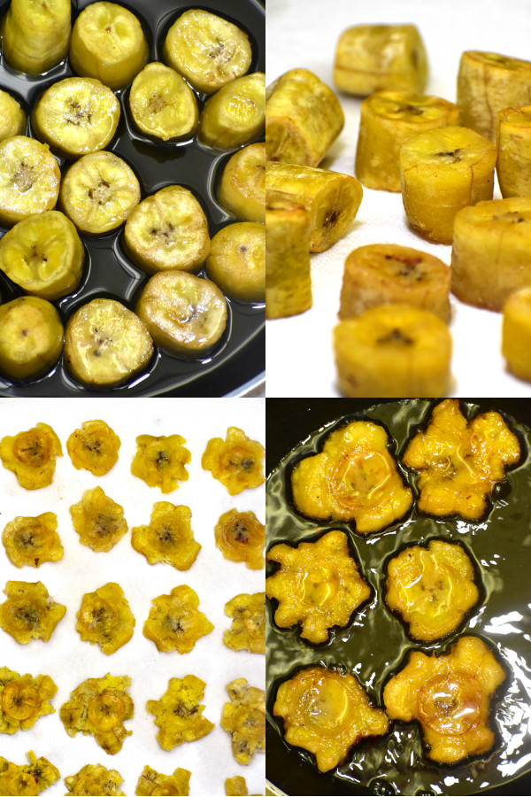 a really nice collage showing the steps to fry tostones