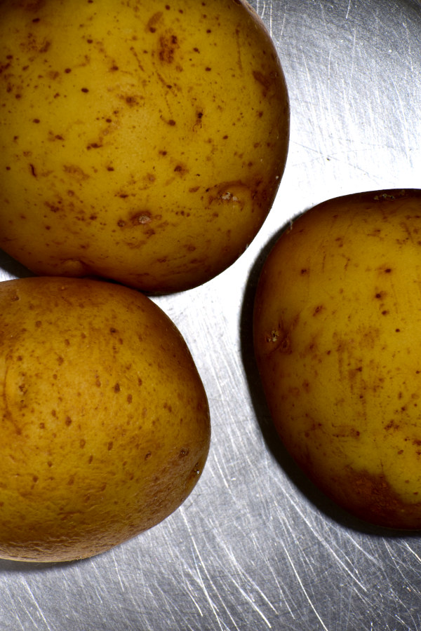 submerged potatoes in a pot