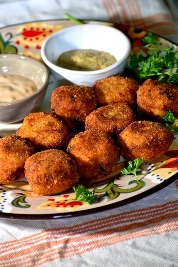 a bunch of sauerkraut balls on the gypsy plate!