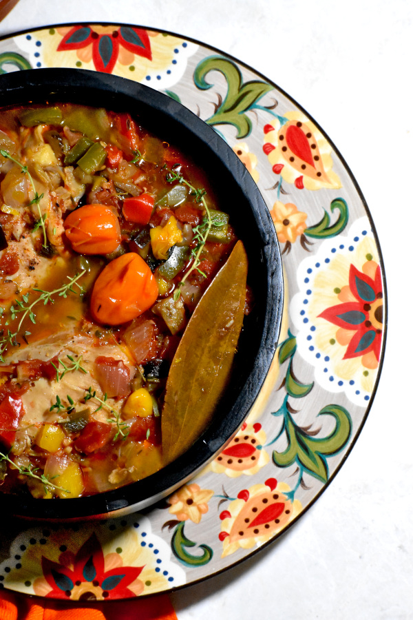 a big bowl of this stew atop the gypsy plate
