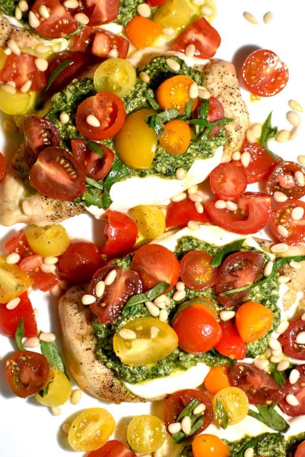 The 40 plus best Mediterranean recipes - Pesto bruschetta chicken.