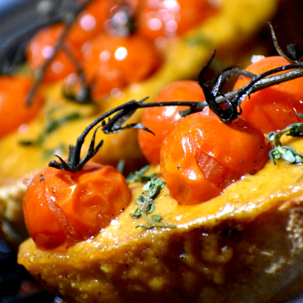 Welsh Rarebit with Roasted Tomatoes