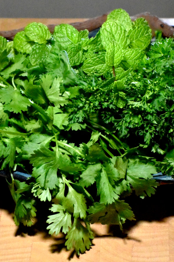 a bunch of cilantro, parsley and mint