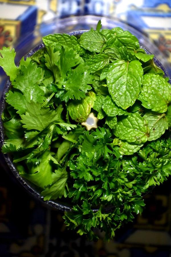 herbs in the blender