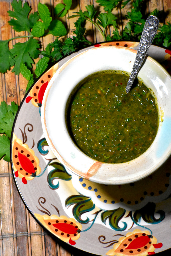 a bowl of chermoula on the gypsy plate