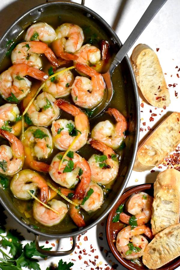 The 40 plus best Mediterranean recipes - Spanish garlic shrimp.