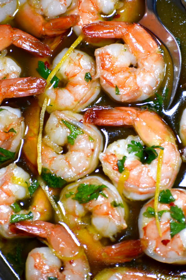A close up of some of these deliciously garlicky Gambas al Ajillo.