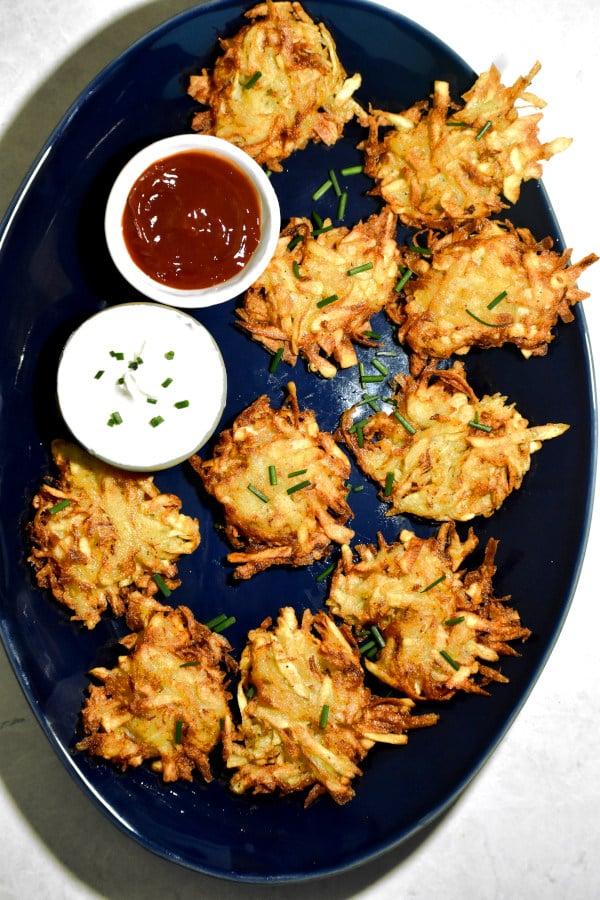 overhead shot of our platter of these crispy little potato pancakes